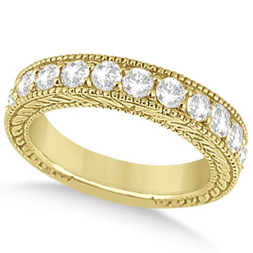 Antique Diamond Engagement Wedding Ring Band 18k Yellow Gold (1.10ct)