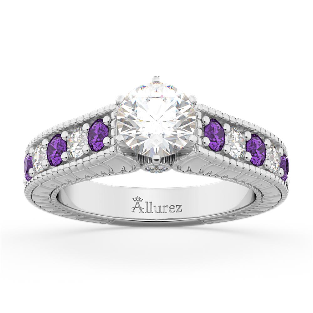 Vintage Diamond & Amethyst Engagement Ring Setting 14k White Gold (1.35ct)