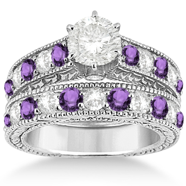 antique diamond amethyst bridal wedding ring set in palladium - Bridal Wedding Ring Sets