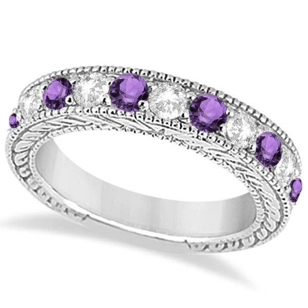 Antique Diamond & Amethyst Engagement Wedding Ring 14k White Gold (1.40ct)