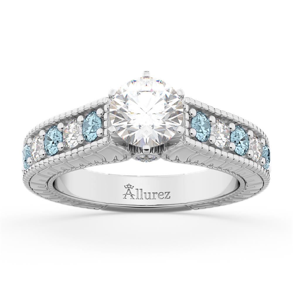 Vintage Diamond & Aquamarine Engagement Ring Setting 18k White Gold (1.35ct)