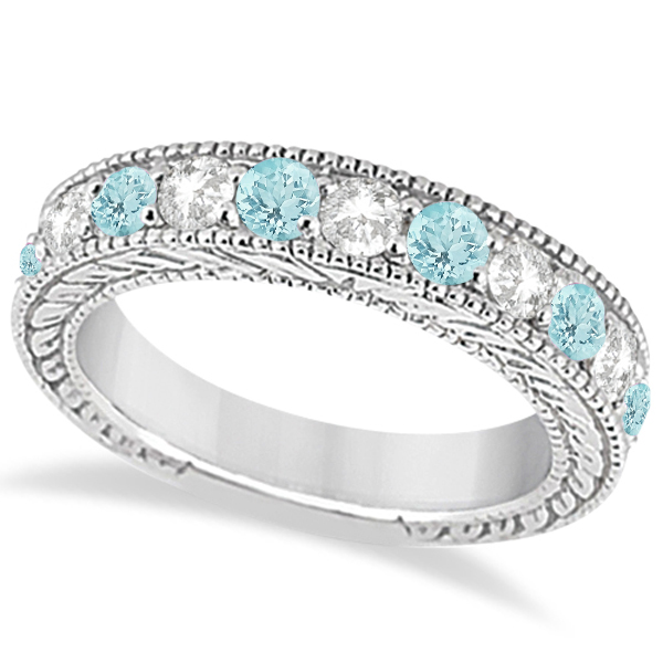 Antique Diamond & Aquamarine Engagement Wedding Ring 18k White Gold (1.40ct)