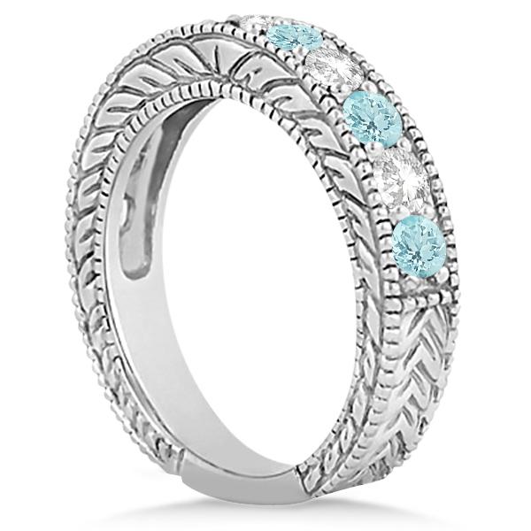 Antique Diamond & Aquamarine Engagement Wedding Ring 18k White Gold (1.40ct)