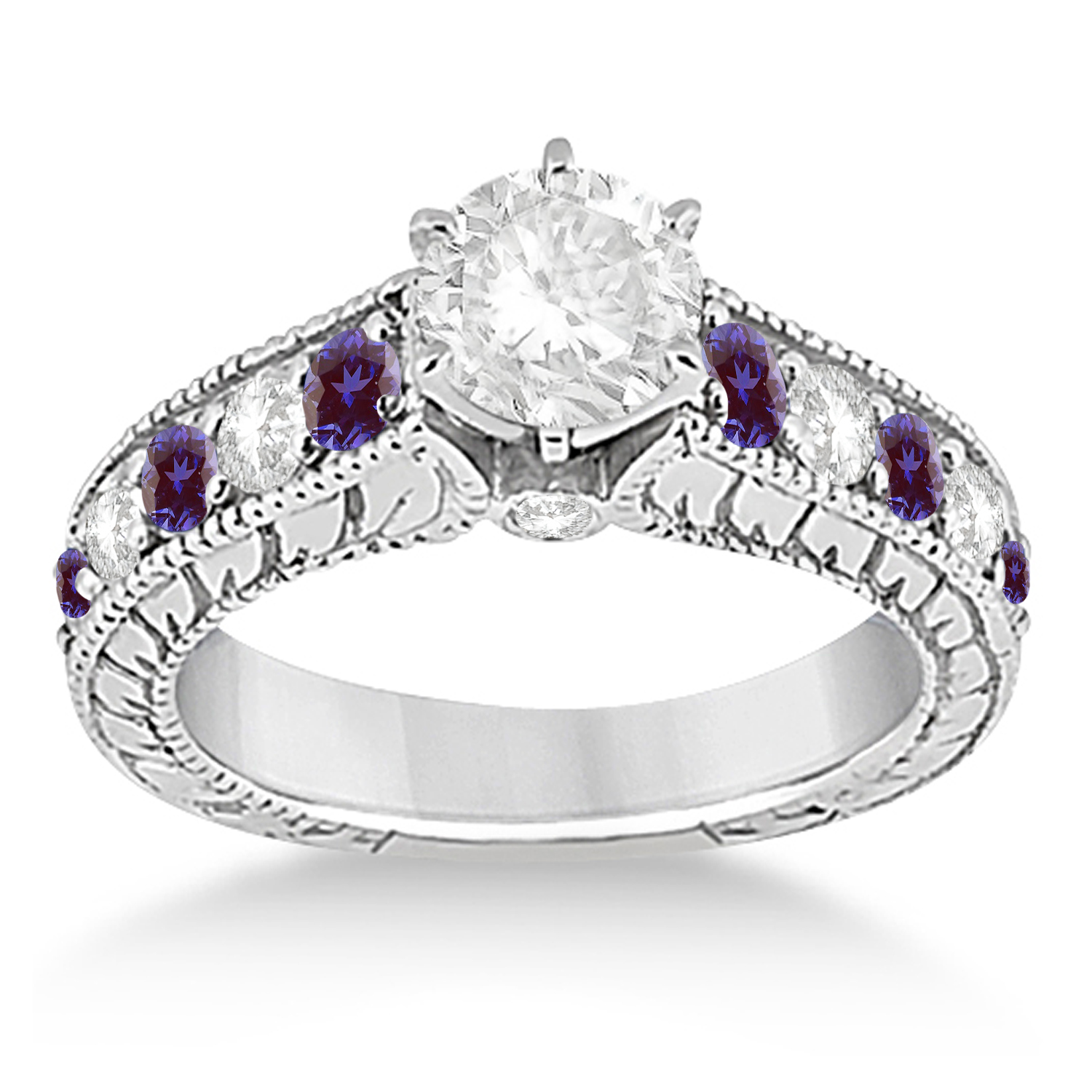 Vintage Diamond and Lab Alexandrite Engagement Ring 18k White Gold (1.41ct)