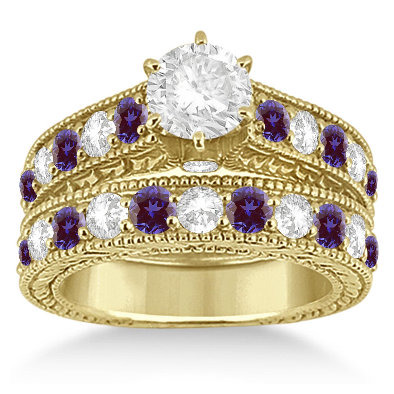 Antique Diamond & Lab Alexandrite Bridal Ring Set 14k Yellow Gold (2.87ct)