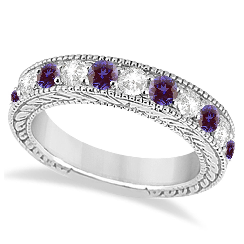 Antique Diamond & Lab Alexandrite Wedding Ring Band 14k White Gold (1.46ct)