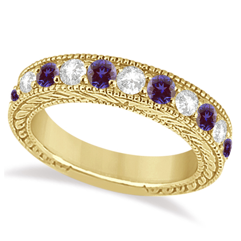 Antique Diamond & Lab Alexandrite Wedding Ring Band 18k Yellow Gold (1.46ct)