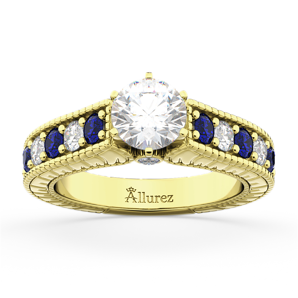 Vintage Diamond and Sapphire Engagement Ring 14k Yellow Gold (1.41ct)