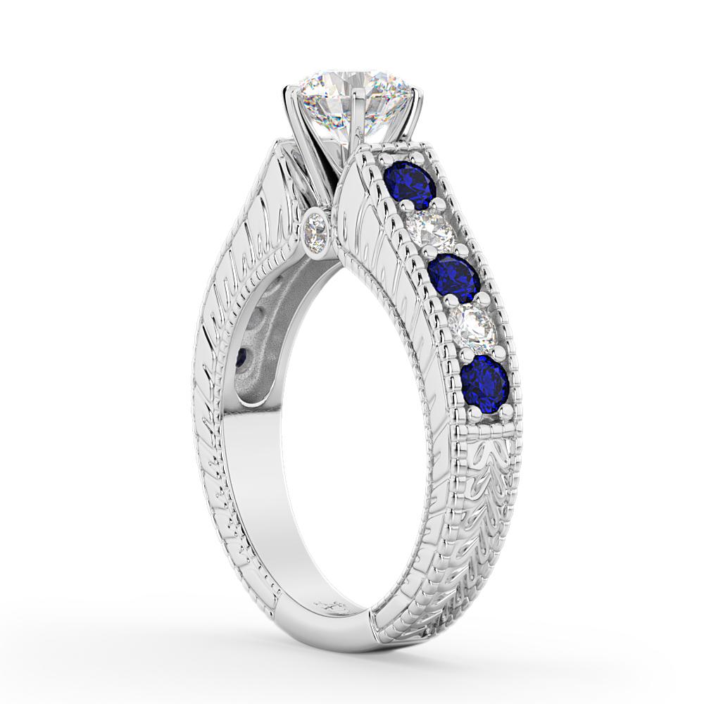 Vintage Diamond & Sapphire Engagement Ring Setting Platinum (1.41ct)