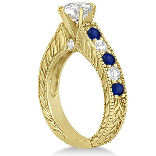 Antique Diamond & Sapphire Bridal Ring Set 14k Yellow Gold (2.87ct)