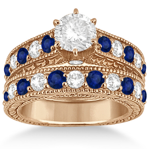 Antique Diamond & Sapphire Bridal Ring Set 18k Rose Gold (2.87ct)
