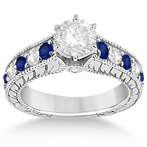 Antique Diamond & Sapphire Bridal Ring Set 18k White Gold (2.87ct)