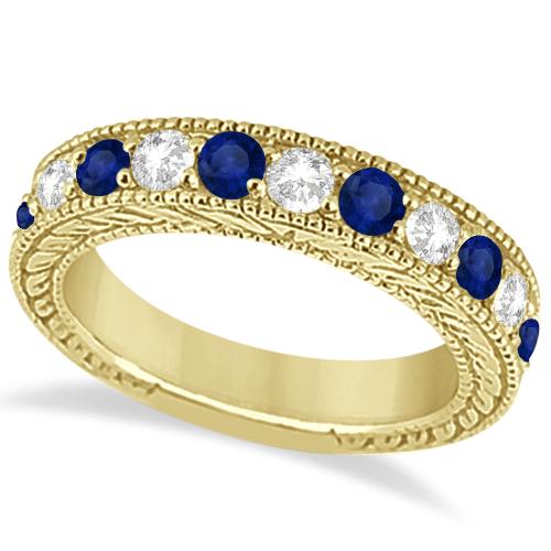 Antique Diamond & Sapphire Bridal Ring Set 18k Yellow Gold (2.87ct)