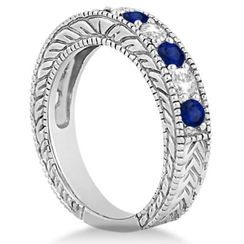 Antique Diamond & Sapphire Bridal Ring Set in Solid Palladium (2.87ct)