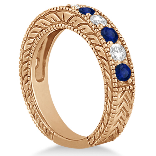 Antique Diamond & Sapphire Wedding Ring Band 18k Rose Gold (1.46ct)