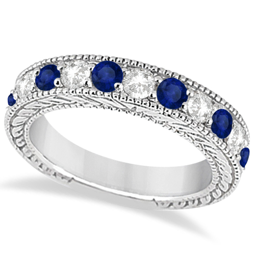 Antique Diamond & Sapphire Wedding Ring Band in Platinum (1.46ct)