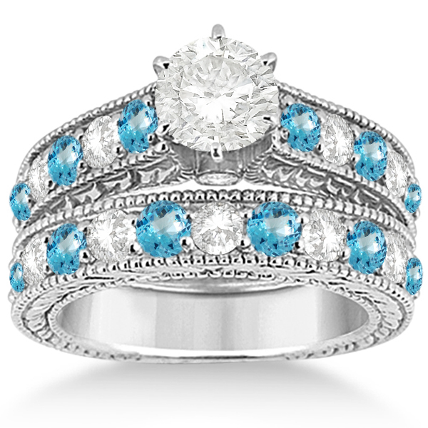 Antique Diamond & Blue Topaz Bridal Wedding Ring Set 18k White Gold (2.75ct)