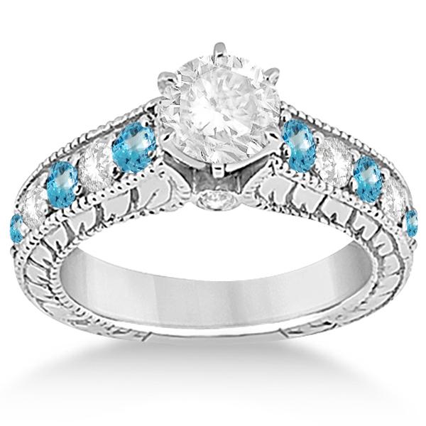 Antique Diamond & Blue Topaz Bridal Wedding Ring Set in Palladium (2.75ct)