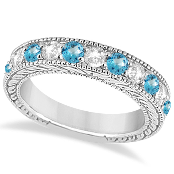 Antique Diamond & Blue Topaz Engagement Wedding Ring 18k White Gold (1.40ct)