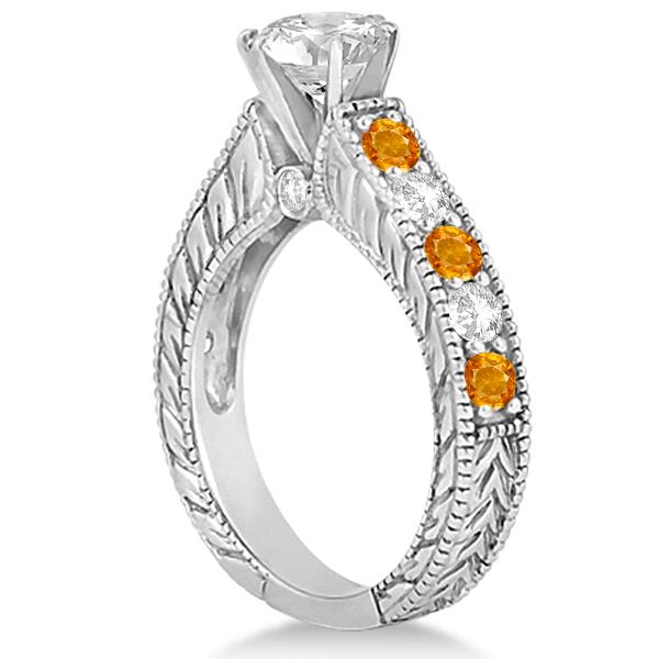 Antique Diamond Amp Citrine Bridal Wedding Ring Set 14k White Gold 275ct