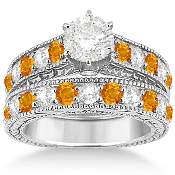 Antique Diamond & Citrine Bridal Wedding Ring Set 18k White Gold (2.75ct)