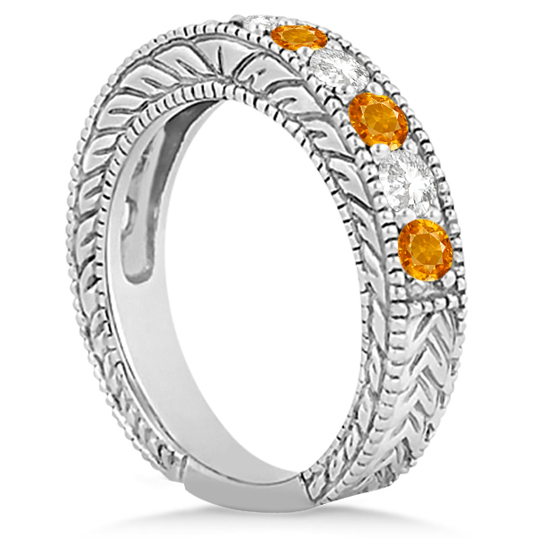 Antique Diamond & Citrine Engagement Wedding Ring 14k White Gold (1.40ct)