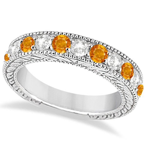 Antique Diamond & Citrine Engagement Wedding Ring Band Platinum (1.40ct)