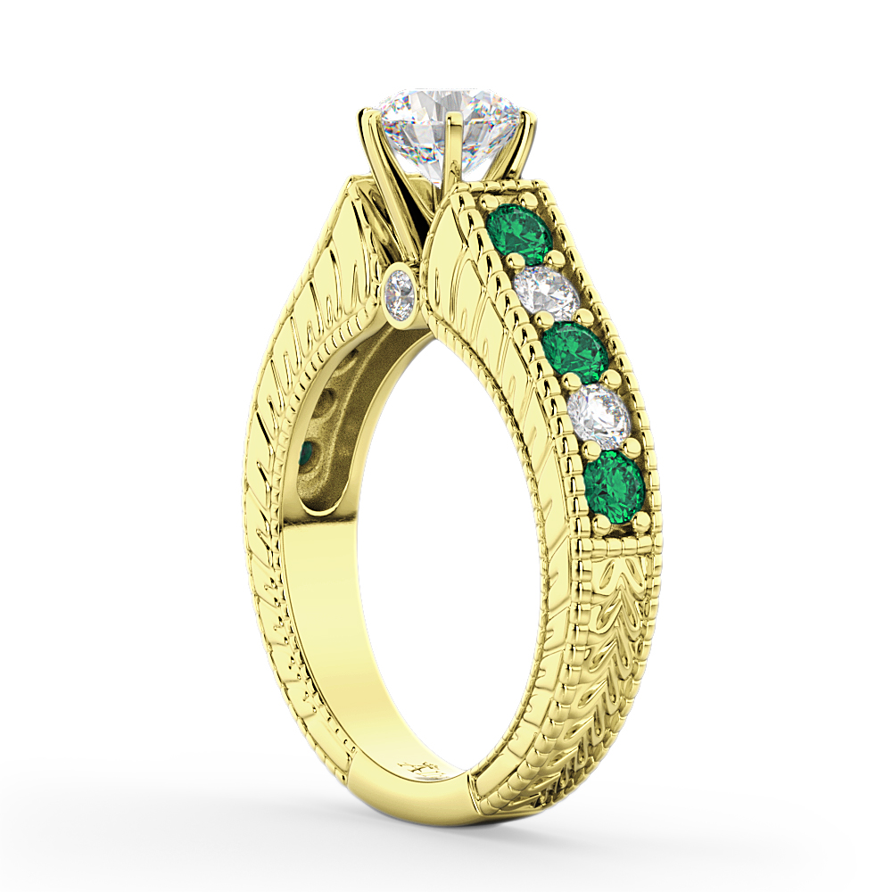 Vintage Diamond & Emerald Engagement Ring 14k Yellow Gold (1.23ct)