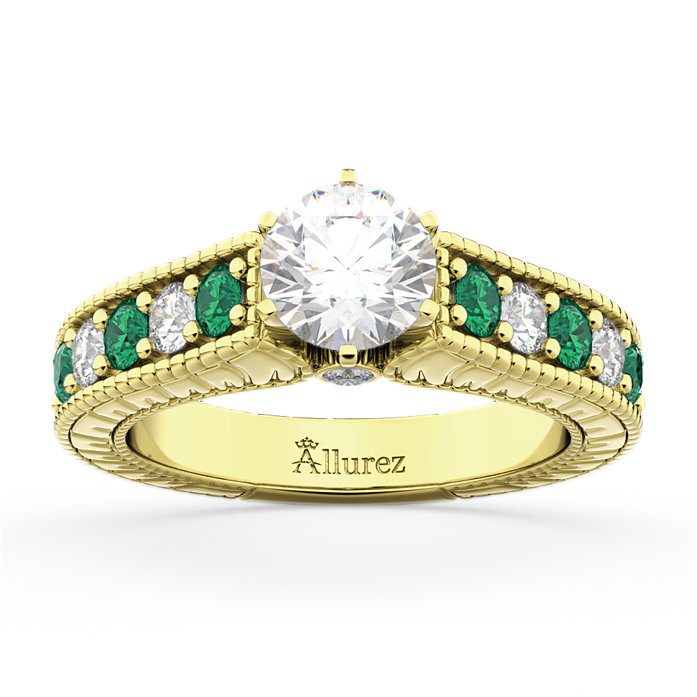 Vintage Diamond & Emerald Engagement Ring 18k Yellow Gold (1.23ct)