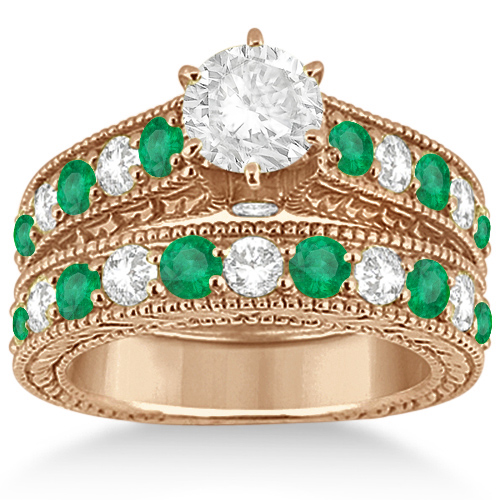 Antique Diamond & Emerald Bridal Ring Set 14k Rose Gold (2.51ct)