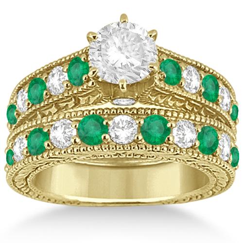 Antique Diamond & Emerald Bridal Ring Set 14k Yellow Gold (2.51ct)