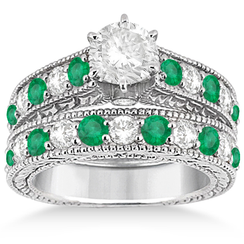 Antique Diamond & Emerald Bridal Ring Set 18k White Gold (2.51ct)