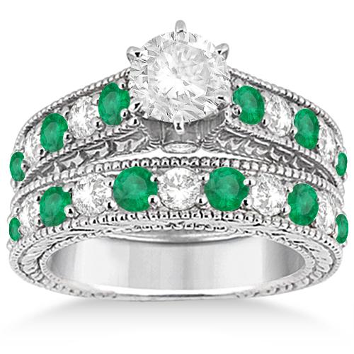 Antique Diamond & Emerald Bridal Wedding Ring Set Palladium (2.51ct)