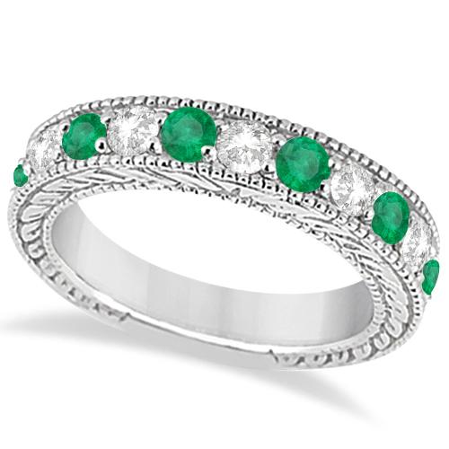 Antique Diamond & Emerald Wedding Ring Band 14k White Gold (1.28ct)
