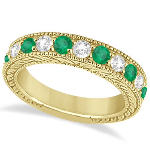 Antique Diamond & Emerald Wedding Ring Band 14k Yellow Gold (1.28ct)