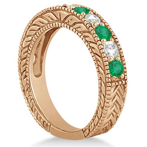 Antique Diamond & Emerald Wedding Ring Band 18k Rose Gold (1.28ct)