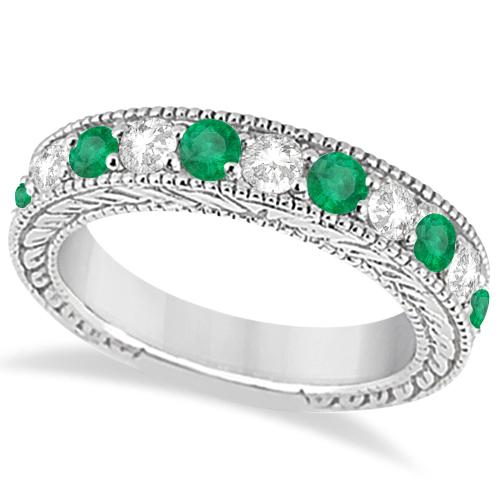Antique Diamond & Emerald Wedding Ring Band 18k White Gold (1.28ct)