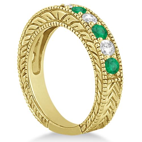 Antique Diamond & Emerald Wedding Ring Band 18k Yellow Gold (1.28ct)