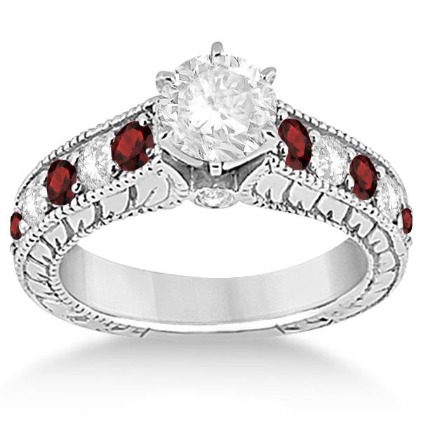 antique diamond garnet bridal wedding ring set 14k white gold - Garnet Wedding Ring