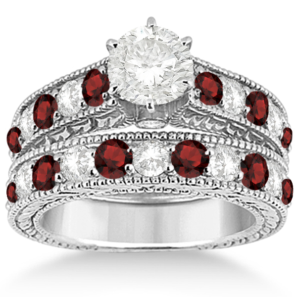Antique Diamond & Garnet Bridal Wedding Ring Set 18k White Gold (2.75ct)