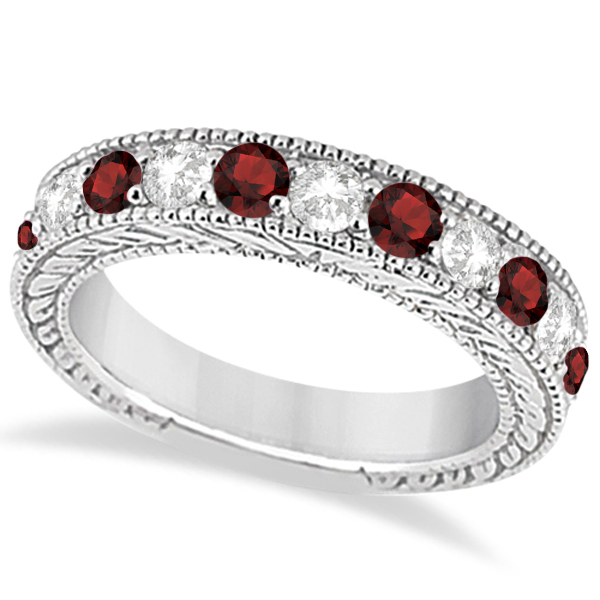Antique Diamond & Garnet Engagement Wedding Ring 18k White Gold (1.40ct)