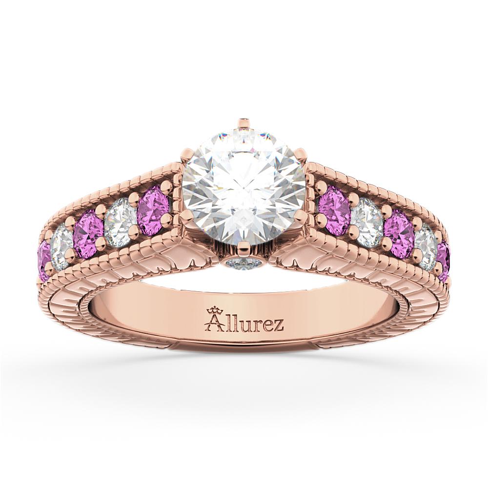 Vintage Diamond & Pink Sapphire Engagement Ring 14k Rose Gold (1.41ct)