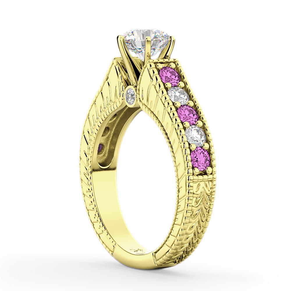 Vintage Diamond & Pink Sapphire Engagement Ring 14k YL Gold (1.41ct)
