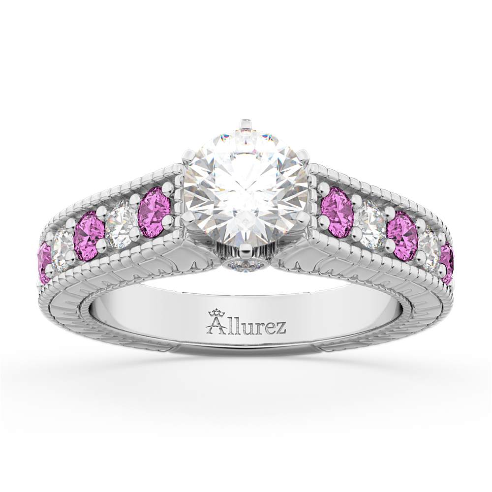 Vintage Diamond & Pink Sapphire Engagement Ring in 18k W Gold (1.41ct)