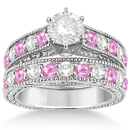 antique diamond pink sapphire bridal set in 14k white gold