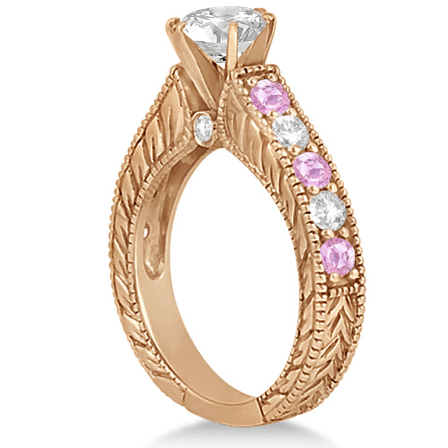 Antique Diamond & Pink Sapphire Bridal Ring Set 18k Rose Gold (2.87ct)
