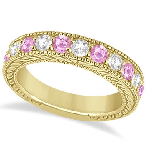 Antique Diamond & Pink Sapphire Wedding Ring 14k Yellow Gold (1.46ct)
