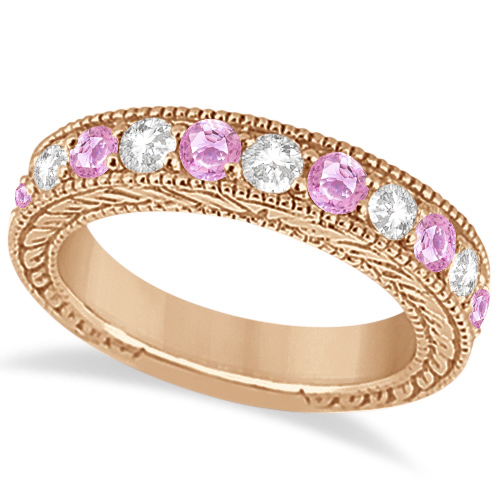 Antique Diamond & Pink Sapphire Wedding Ring in 18k Rose Gold (1.46ct)