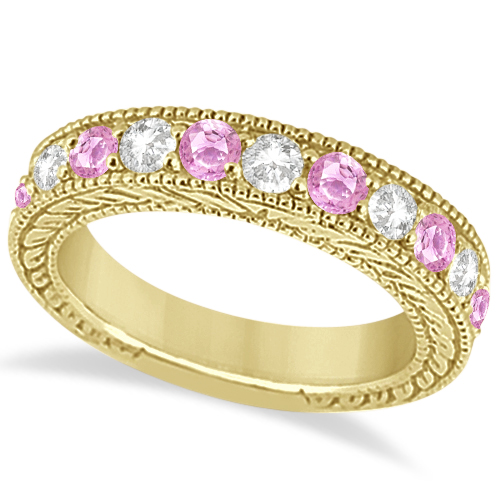 Antique Diamond & Pink Sapphire Wedding Ring 18k Yellow Gold (1.46ct)