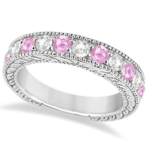 Antique Diamond & Pink Sapphire Wedding Ring Band in Platinum (1.46ct)